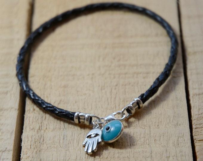 Braided Leather Sterling Silver Hamsa Hand & Evil Eye Charm Bracelet for Men