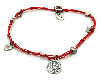 Prosperity Solomon Seal and lucky Charms Anklet in Red - Anklet for Women