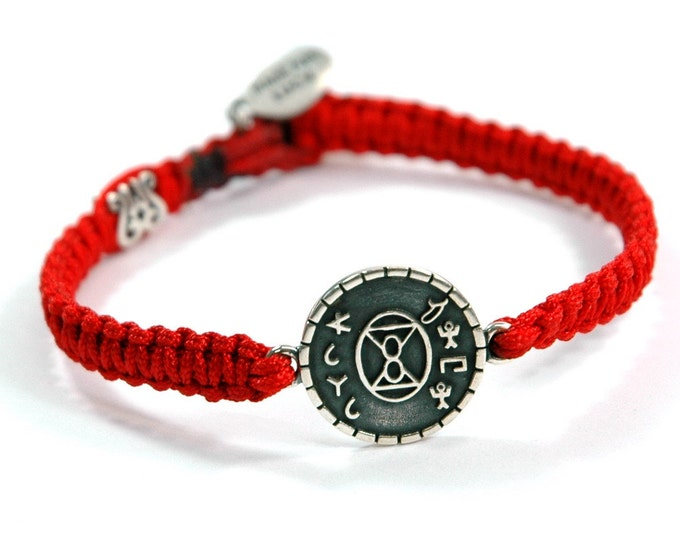 Unisex Silver LOVE Amulet on Red Macrame Chord Bracelet with Signature MIZZE Silver Bead - Button Closure