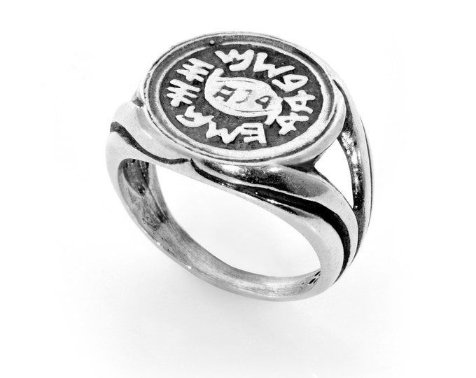 Against Evil Eye Protection Amulet Ring with King Solomon Coin Charm - CHOOSE SIZE!