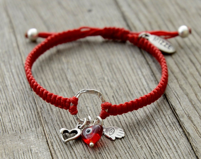 Heart Circle of Protection Red Charm Bracelet Adjustable with Sterling Silver Charms