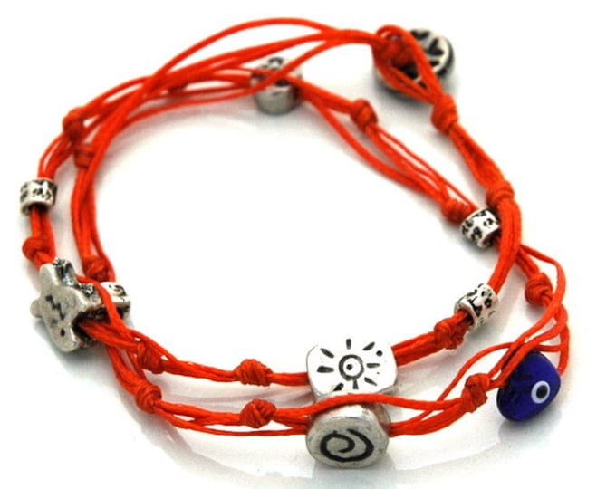 Evil Eye Charms Bracelet for Good Luck - Double Wrapping