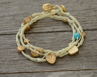 Cream Double Wrap Ties and Charms Anklet for Good Luck and Protection
