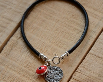 Love Solomon Seal and Red Evil Eye Charm on Leather Bracelet