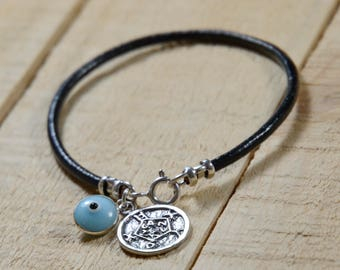 Safety Solomon Seal & Light Blue Evil Eye Charm on Leather Bracelet