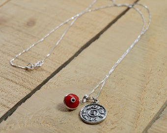 Prosperity Solomon Seal & Evil Eye Charm Necklace for Men and Women