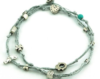 Charms Anklet for Good Luck and Protection in Silver Double Wrap Anklet