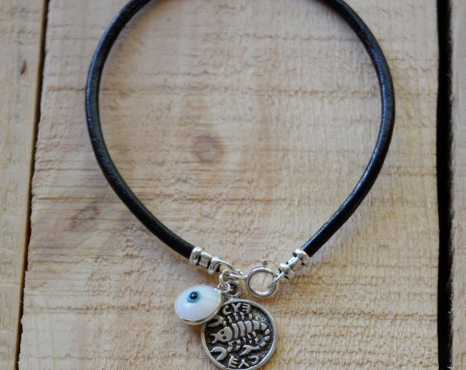 Recovery Solomon Seal & White Evil Eye Charm on Leather Bracelet for Men
