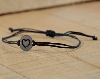 Black Strand with Stainless Steel Big Heart Love Charm, Adjustable Bracelet for Women & Men - Waterproof, Hypoallergenic Jewelry
