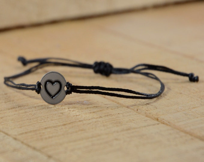 Black Strand with Stainless Steel Big Heart Love Charm, Adjustable Bracelet for Women & Men - Waterproof, Hypoallergenic Jewelry
