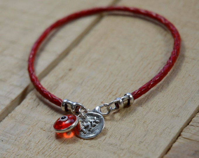 Red Leather Kabbalah Evil Eye Protection & Good Luck Bracelet