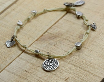 Gate Opening Solomon Seal and lucky Charms Anklet in White