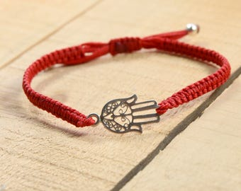 Hamsa Hand Charm Bracelet on Red Macrame Adjustable Bracelet for Men & Women - sterling silver charm
