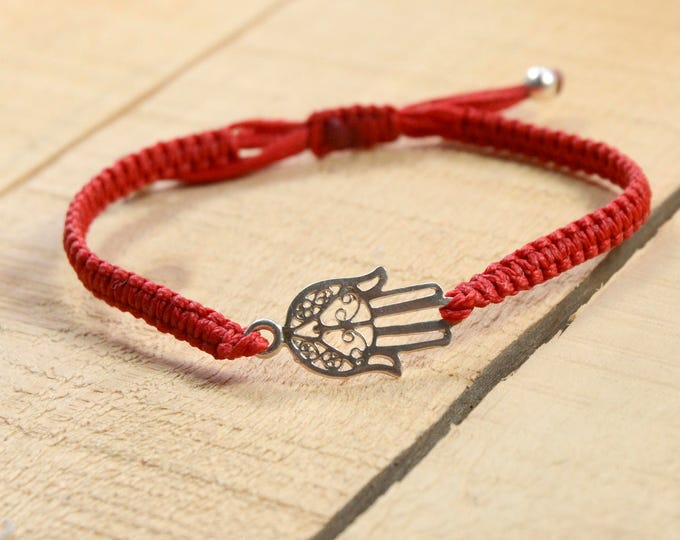Hamsa Hand Charm Bracelet on Red Macrame Adjustable Bracelet for Men & Women - sterling silver charm