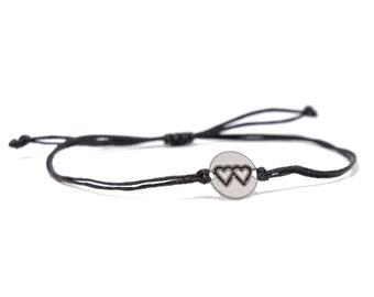 Black Strand with Stainless Steel Mother Daughter Charm, Adjustable Bracelet for Women & Men - Waterproof, Hypoallergenic Jewelry