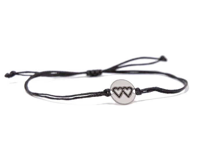 Black Strand with Stainless Steel Mother Daughter Charm, Adjustable Bracelet for Women & Men - Waterproof, Hypoallergenic Jewelry