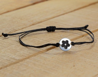 Black Strand with Stainless Steel Flower Child Charm, Adjustable Bracelet for Women & Men - Waterproof, Hypoallergenic Jewelry