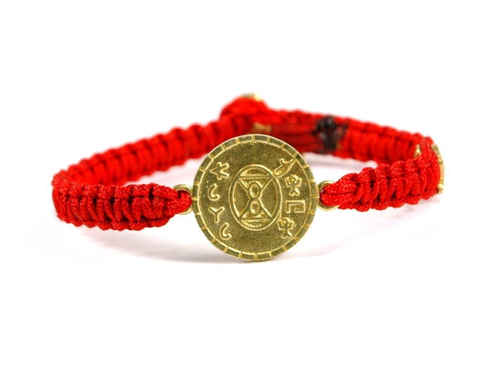 Unisex Brass Love Charm Bracelet and Signature MIZZE Button on Red Parachute Chord