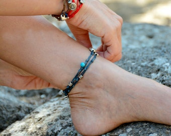 Denim Blue Double Wrap Ties and Silver Charms Anklet for Good Luck and Protection