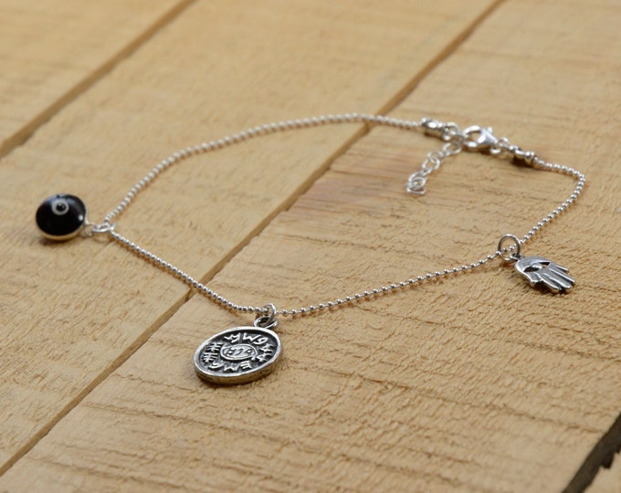 Protection Charms and Blue Evil Eye Silver Anklet