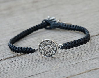 Evil Eye Protection Amulet on Hand Woven Black Charm Bracelet for Men