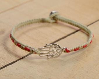 Hamsa Charm Bracelet with Red String Bracelet Woven  Inside