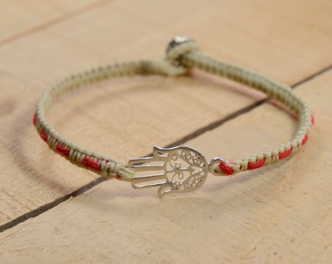 Hamsa Charm Bracelet with Red String Bracelet Woven  Inside