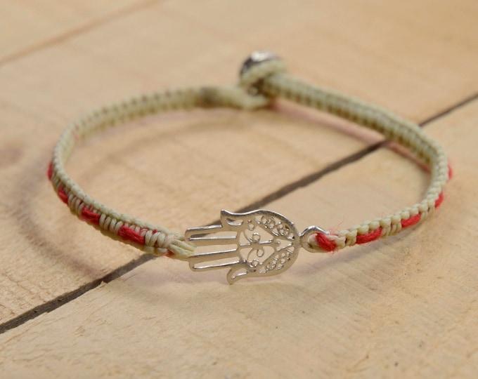 Hamsa Charm Bracelet with Red String Bracelet Woven inside - Bracelet for Women & Men