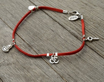 Red Suede Silver Plated Charms Anklet