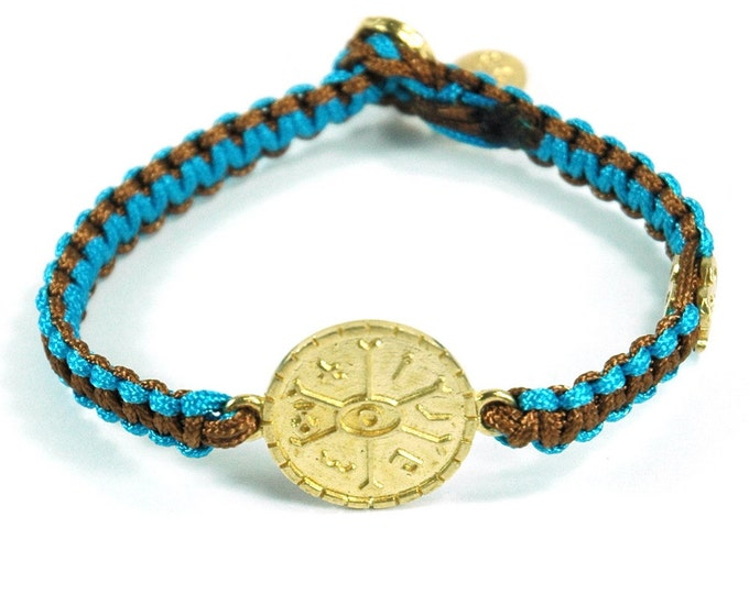 Unisex Brass Opportunities Amulet Bracelet and Signature MIZZE Button on Two Tone Light Brown & Turquoise Parachute Chord