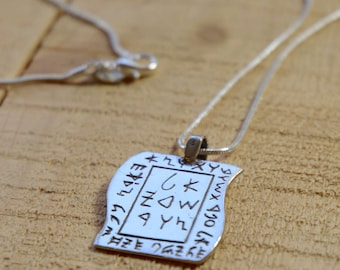 Necklace with Incarnation and Karma Awareness Amulet in Sterling Silver