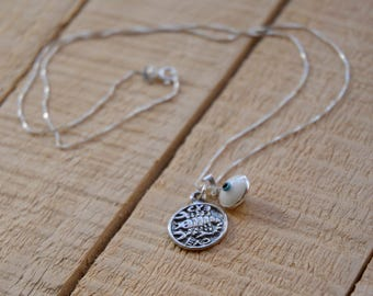 Recovery Solomon Seal & Evil Eye Charm Amulet Necklace in 925 Sterling Silver