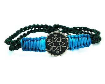 Unisex Two Tone Framed Success & Prosperity Amulet on Dark Green and Turquoise Macrame Chord Bracelet with Signature MIZZE Silver Bead