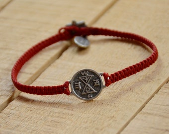 Matching Amulet on Hand Woven Red Bracelet for Men & Women