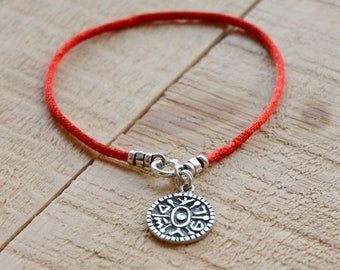 925 Sterling Silver Gate Opening Coin Amulet on Red String Bracelet - Men and Women