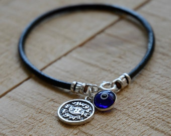 Blue on Leather Evil Eye Protection Bracelet for Men & Women