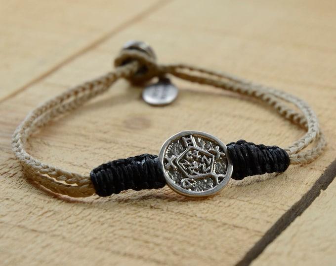 Spiritual Safekeeping King Solomon Silver Amulet Charm on Two Tone Handmade Macrame Bracelet for Men & Women