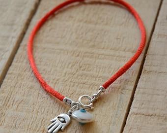 Red String Evil Eye Charm & Hamsa Protection Bracelet For Men and Women