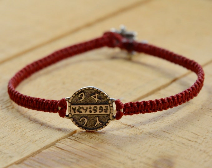 925 Sterling Silver Health Amulet on Hand Woven Red Macrame Bracelet - Health Bracelet for Women