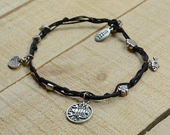 Recovery Solomon Seal and lucky Charms Anklet in Black