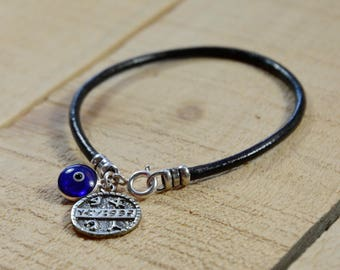Blue Evil Eye and Health Seal on Leather Bracelet