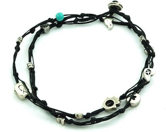 Black Anklet for Good Luck and Protection - Ties and Charms Double Wrap Anklet