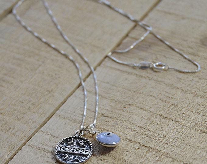 Baby Blue Evil Eye & Health Solomon Seal Necklace