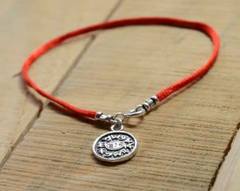 Against Evil Eye Amulet on Red String Bracelet for Men and Women