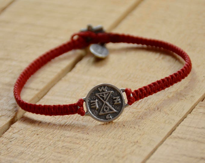 Matching Amulet on Hand Woven Red Charm Bracelet for Men, King Solomon Charm Bracelet for Men