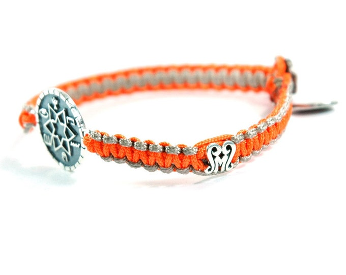 Unisex High Durability Success & Prosperity Silver Amulet Bracelet and Signature Button on Two Tone Camel Orange Parachute Chord