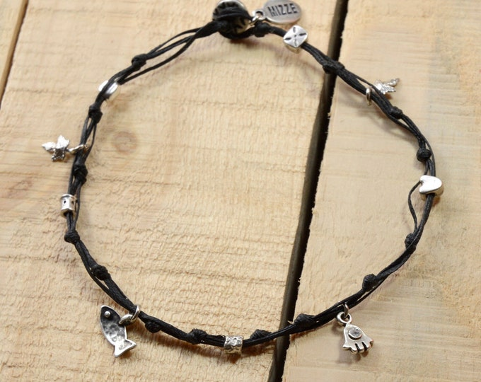 Silver Good Luck Charms Anklet in Black