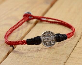 Men's Good Health King Solomon Sterling Silver Coin Amulet on Two Tone Macrame Bracelet