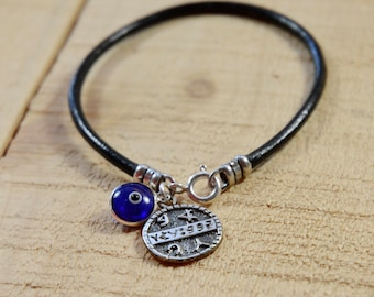 Red String Charm Bracelet with Sterling Silver Health Solomon Seal & Blue Evil Eye Charm - 7 Inch Length, Health Jewelry