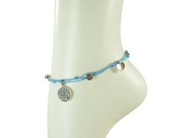 Wishes Solomon Seal and lucky Charms Anklet in Blue